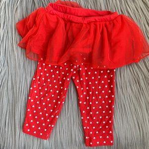 Carter's Baby Infant Girl Red Pants + Tutu Skirt